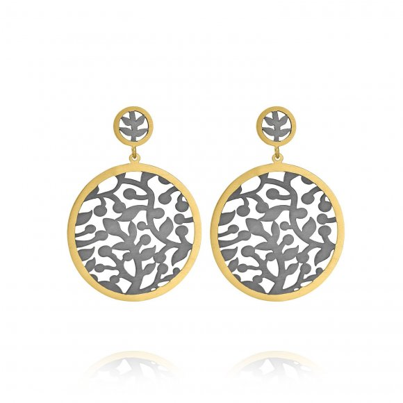 Olive Tree round Flower Earrings